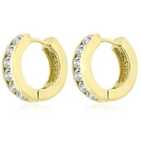 1.20 ct Ladies Round Cut Diamond Hoop Huggie Earrings In ...