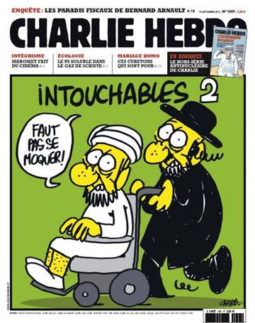 La Une du Charlie Hebdo du 19 Septembre 2012 fait couler beaucoup d'encre. Ce dessin provocant, en pleine période de protestations dans le monde arabe contre un film anti-islam, divise l'opinion entre les farouches défenseurs de la liberté d'expression et ceux qui trouvent cette provocation inappropriée.