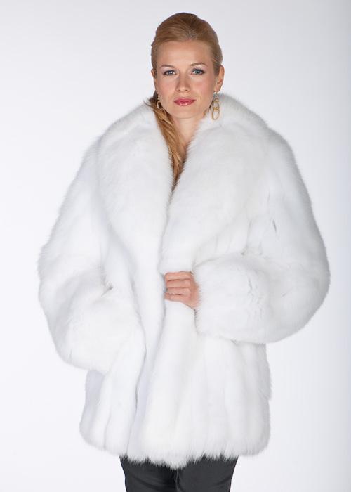 White Fox Fur Jacket Shawl Collar  Madison Avenue Mall