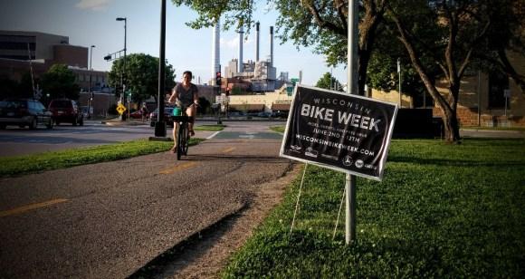 Bike week sign on the Cap City trail