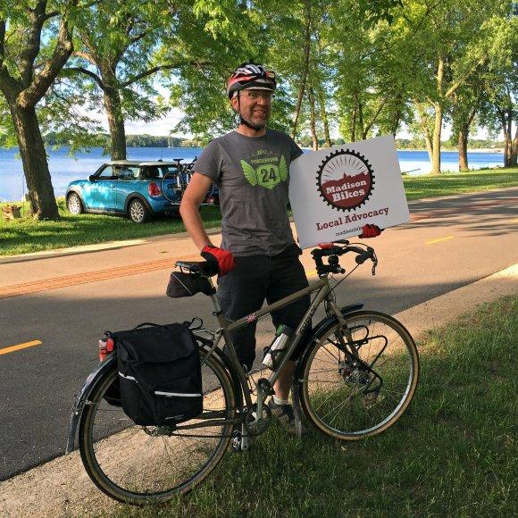 Michael, one of our directors, volunteering during Bike Week