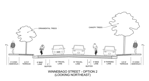 Proposed cross-section of Winnebago Street with buffered bike lanes