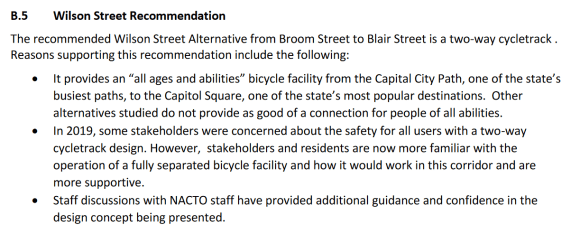 Screenshot from the Wilson Street Corridor Study, recommending a two-way cycletrack.