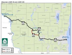 map of US Bike Route 30 in Wisconsin