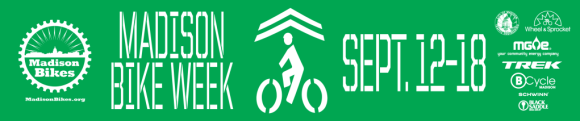 """Green banner with the Madison Bikes logo, a stylized cyclist under chevrons, and the text """"Madison Bike Week. September 12-19"""""""