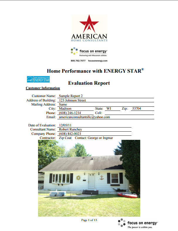 Sample Energy Audit Cover  American Home Consultants