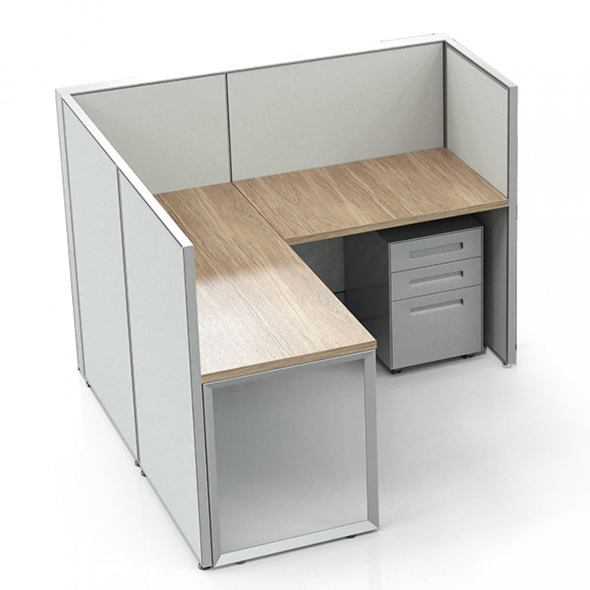 L Shaped Office Cubicle Workstation Desk With Drawers