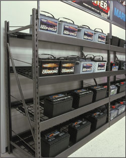 wide span gravity feed battery rack