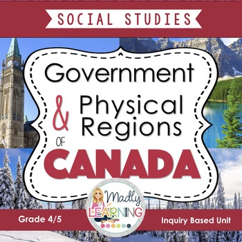 4/5 Canadian Physical Regions and Government: Social Studies Inquiry Unit