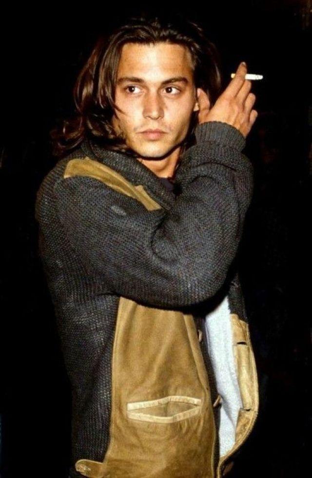 Young Johnny Depp smoking