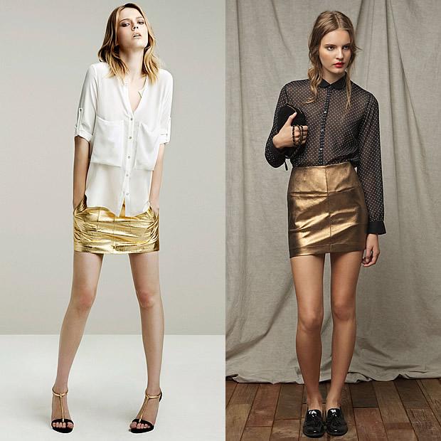 La mode métallisée : gare à leffet vieille moulure patinée jupes métallisées