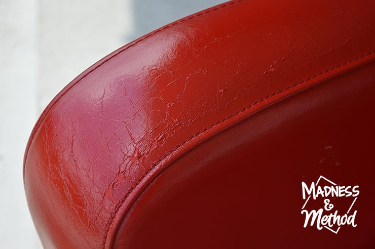 leather chair repair swivel office upholstered red madness method minor wear