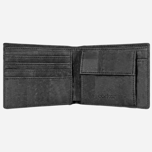 Grand portefeuille noir en liège mixte