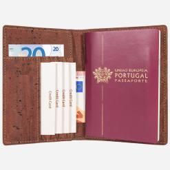 Étui pour passeport rouge brique en liège mixte