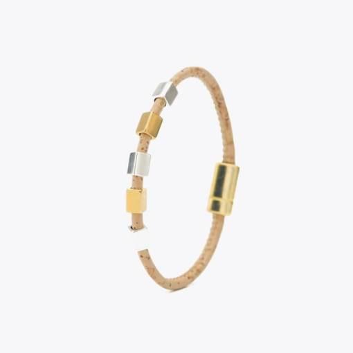 Bracelet doré en liège pour femme