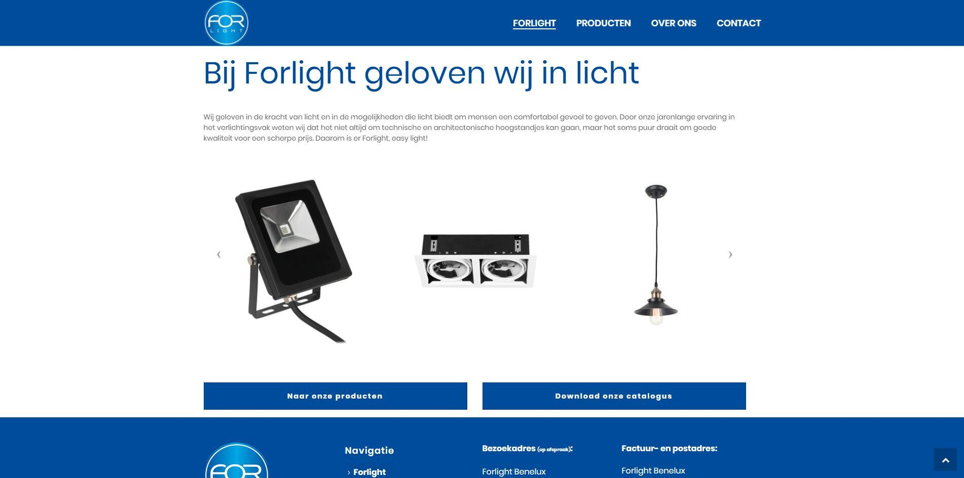 Forlight website gemaakt in WordPress