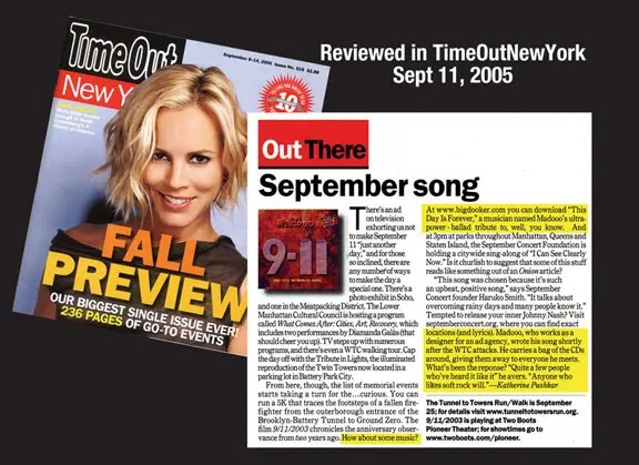 Reviewed in TimeOut New York - Sept 11, 2005