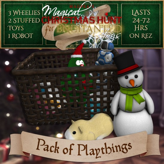 """Pack of Playthings"" contains 3 Wheelies, 2 Stuffed Toys, and 1 Robot and costs $3500L (you save $500L)"
