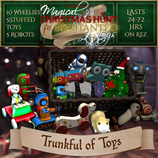 """Trunkful of Toys"" contains 10 Wheelies, 5 Stuffed Toys, and 5 Robots and costs $10,000L (you save $3750L)"