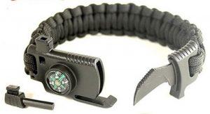 Paracordsnäppe variant [1] med liten kniv, visselpipa och löstagbart eldstål
