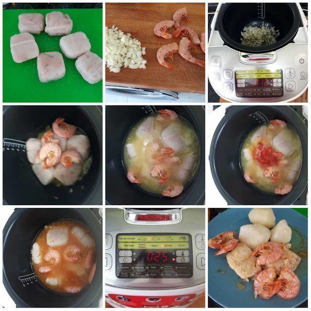 Merluza con Langostinos en el robot de cocina moulinex