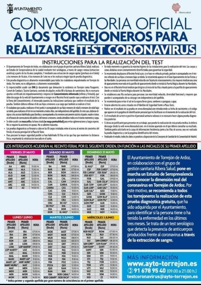 Comienzan los test serológicos de Covid-19 en Torrejón 1