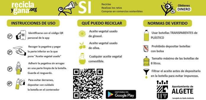 Reciclar el aceite usado tiene premio (económico) en Algete 1