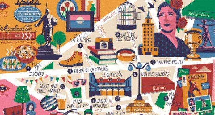 Un nuevo mapa ilustrado recoge la historia y la cultura del Rastro 1