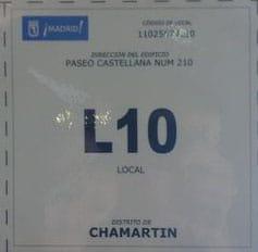 Cartel identificativo censo locales, licencia de apertura