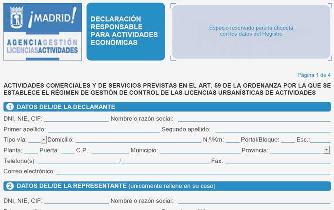 Tramitacion de licencias de apertura y actividad DECLARACION RESPONSABLE