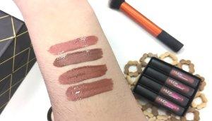 huda beauty lipstick labiales review opiniones bombshell flirt trendsetter venus labial liquido swatches nude