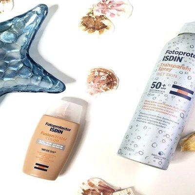 Protector solar en Verano: Isdin Fusion Water color y Transparent Spray Wet Skin