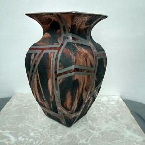 Large Raku Square Vase
