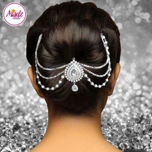 Madz Fashionz UK: Mehrani Bridal Hair Bun Headpiece Jodha Silver White Juda Joora