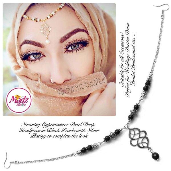 Madz Fashionz UK: Maryam Cypriotsister Pearl Drop Headpiece Silver Black