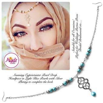 Madz Fashionz UK: Maryam Cypriotsister Pearl Drop Headpiece Silver Light Blue