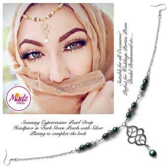 Madz Fashionz UK: Maryam Cypriotsister Pearl Drop Headpiece Silver Green