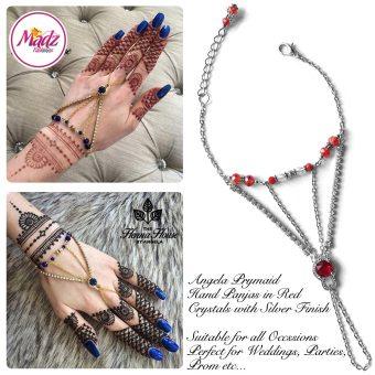 Hennabyang Silver Red Panjas Hand Jewellery Cuff Bracelet - MadZ FashionZ UK