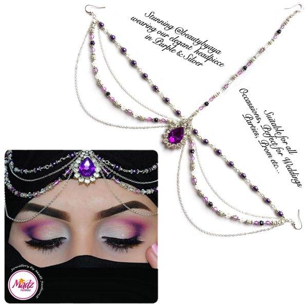 Madz Fashionz UK Beautybyaya Bridal Matha Patti Silver Purple 2