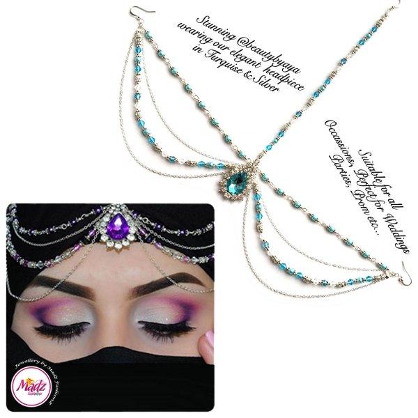 Madz Fashionz UK Beautybyaya Bridal Matha Patti Silver Turquoise Blue