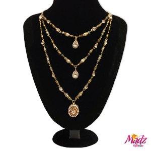 Madz Fashionz UK: Alisha Kundan Gold Pearl Long Bridal Necklace Mala Gold White