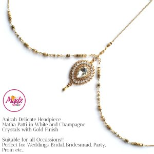 Madz Fashionz UK: Aairah Bespoke Matha Patti Headpiece Gold White Hair Tikka