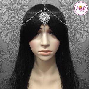 Madz Fashionz UK: Aairah Bespoke Matha Patti Headpiece Silver White Maang Tikka Head Gear 2