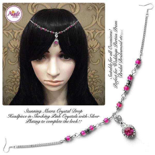 Madz Fashionz UK: Meera Crystal Matha Patti Headpiece Silver Hot Pink