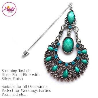 Madz Fashionz UK: Taybah Hijab Pin Hijab Jewels Stick Pins Silver Sky Blue