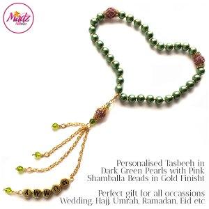 Madz Fashionz UK: 33 Beads Personalised Tasbeeh in Dark Green Pearls with Pink Shamballa Beads in Gold Finish