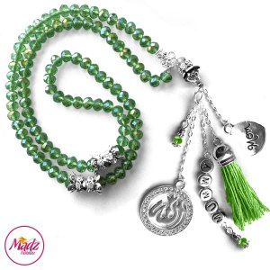 Madz Fashionz UK: 99 Beads Personalised Tasbeeh with Apple Green Crystals in Silver Finish
