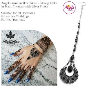 Madz Fashionz UK: Hennabyang Angela Traditional Kundan Crystal Maang Tikka Hair Tikka Headpiece Silver Black