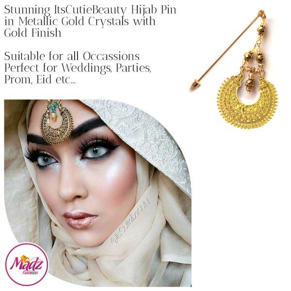Madz Fashionz UK: ItsCutieBeauty Kundan Hijab Pin Stick Pin Hijab Jewels Hijab Pins Gold Metallic Gold