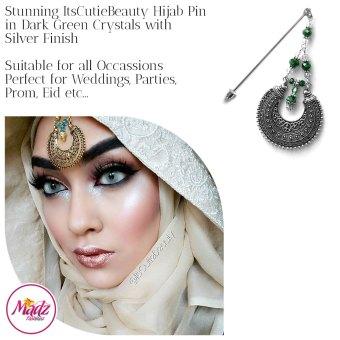 Madz Fashionz UK: ItsCutieBeauty Kundan Hijab Pin Stick Pin Hijab Jewels Hijab Pins Silver Green Dark
